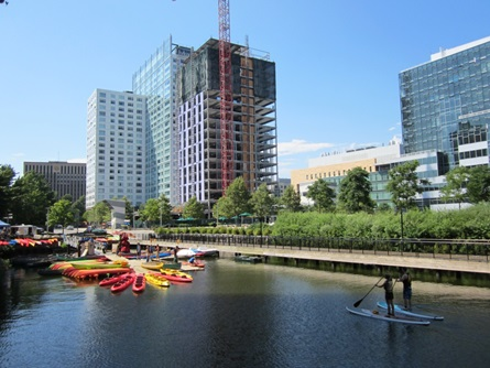 View of Watermark II apartments under construction as seen from down the Broad Canal