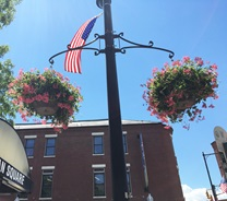 flower baskets and flags
