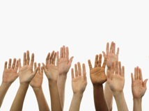 Raising hands to ask questions