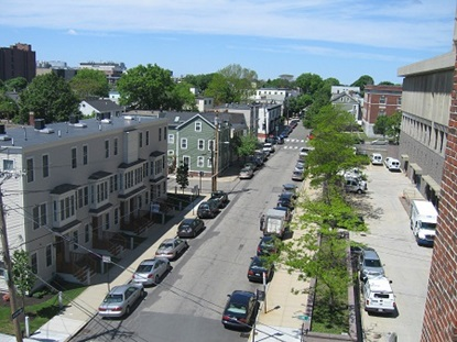 Typical residential street in East Cambridge.