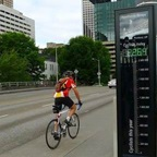 Image of person biking by bicycle counter