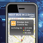 Picture of a smartphone showing a transit app