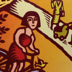 Faux-woodblock graphic of a girl riding a bike