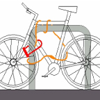 Technical drawing of how to lock a bike