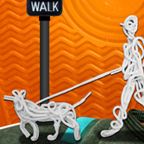 CitySmart shoelace collage of person walking with dog