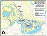 Map showing aprpoximate locations of public bike racks