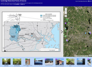 Cambridge, watershed, water, points of interest, map, interactive map, story map, storymap, gis, fresh pond