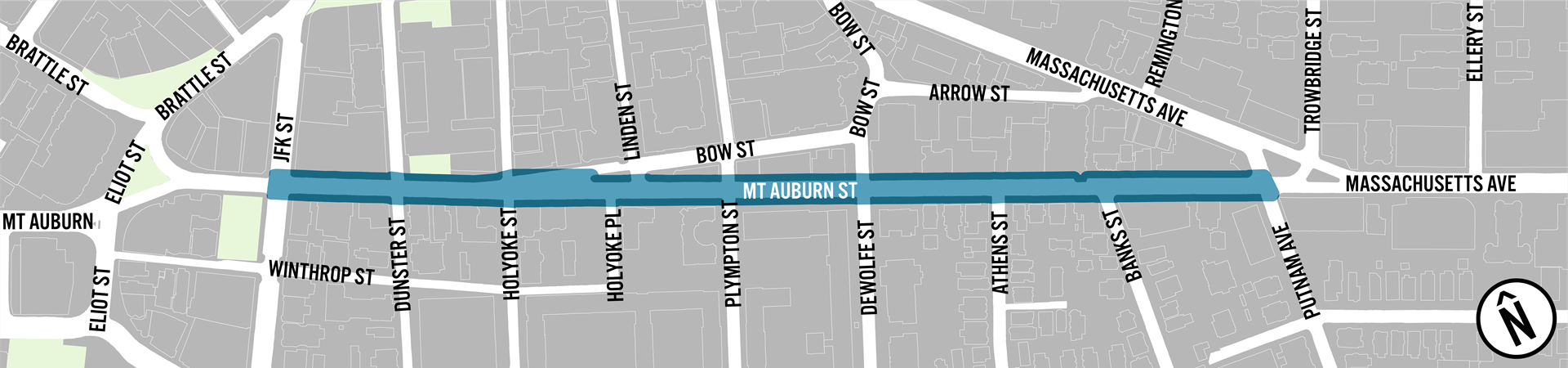 A map of the project area. Mt. Auburn St from JFK to Putnam Ave is highlight.