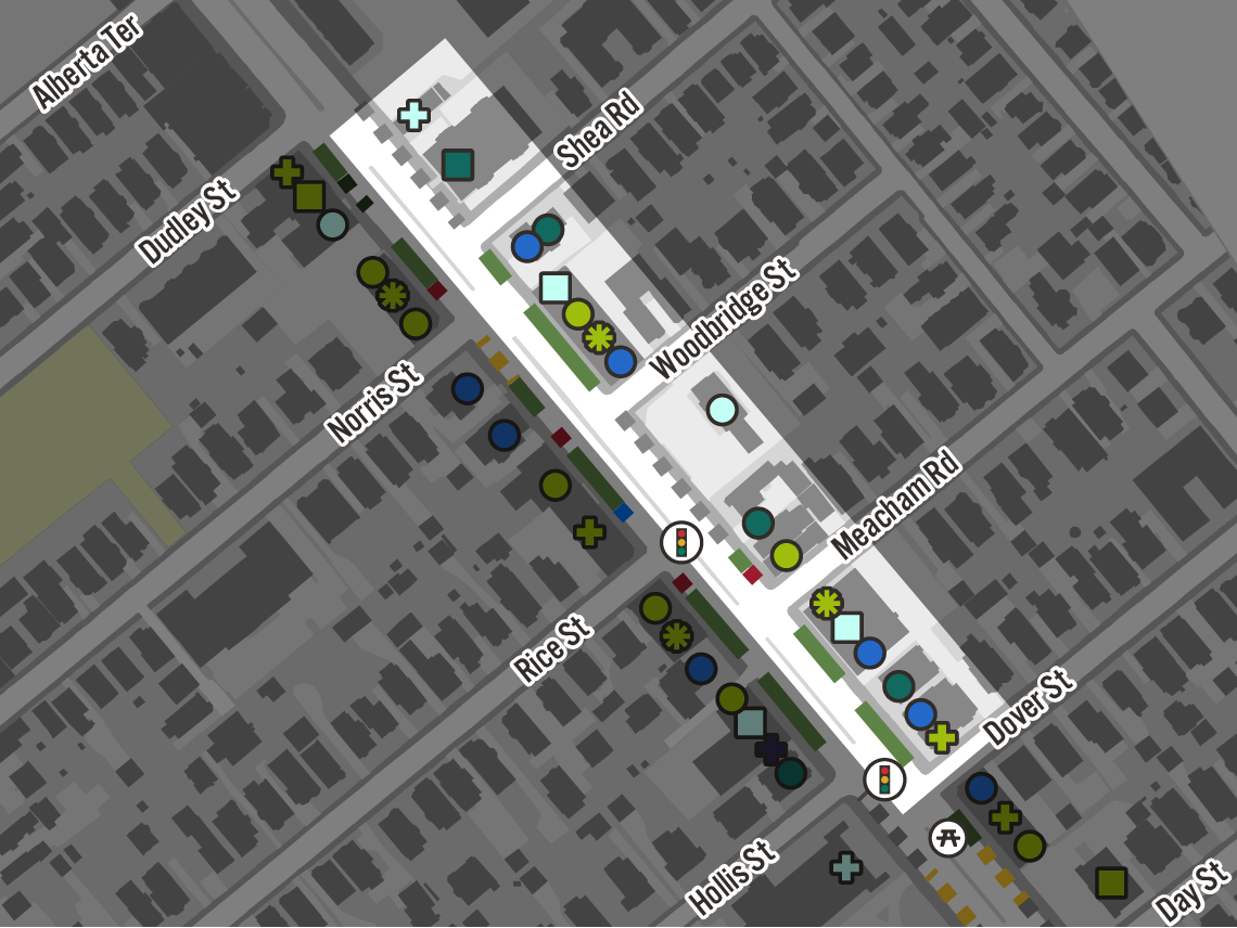 Map of curb and land uses.