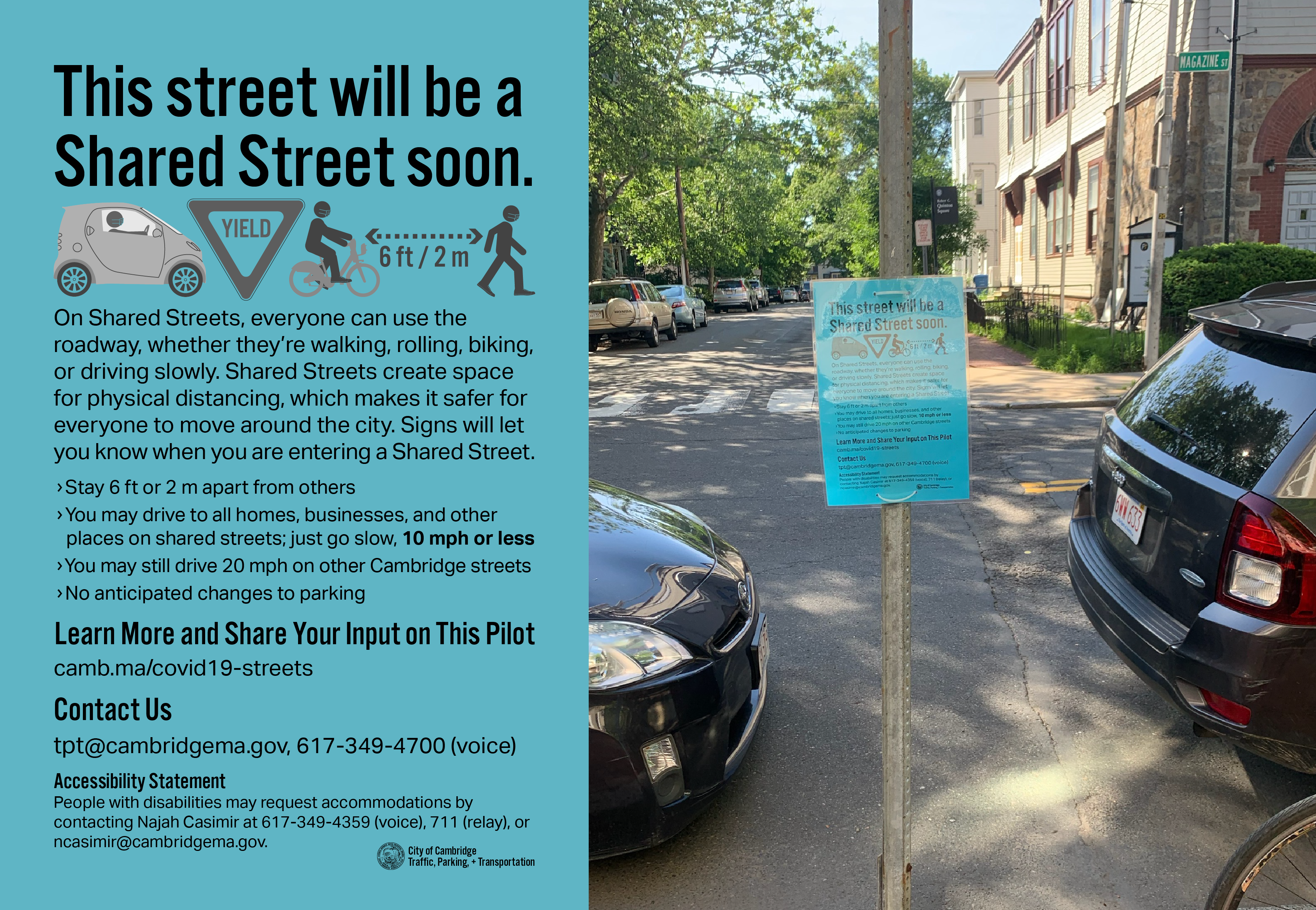 """Shared Streets Coming Soon"" and a photo of the sign posted on Magazine St."