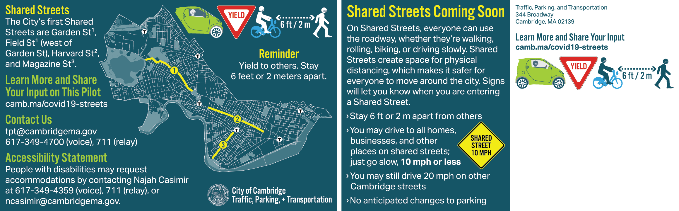 Postcard announcing the Shared Streets program