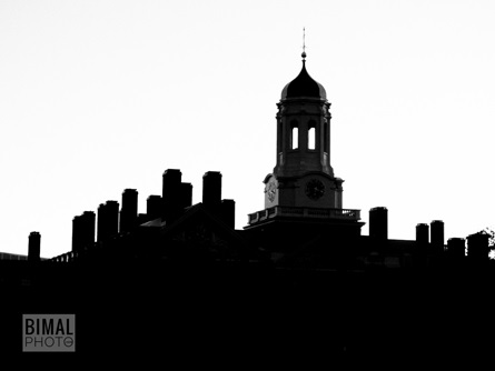 A black and white photo of a building in Cambridge.