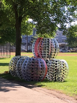 A stack of inflatable objects.