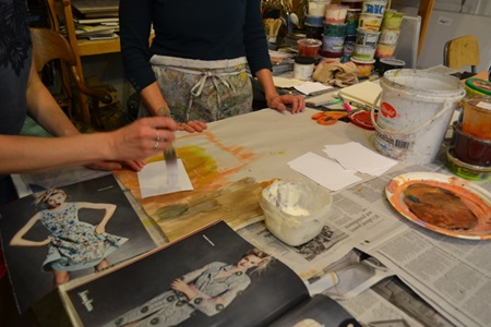 An artist's demonstrated their craft during Cambridge Open Studios.