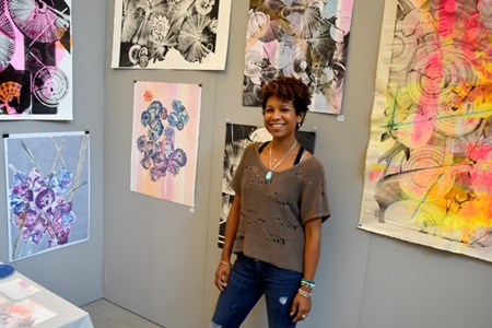 Cicely Carew at Lesley University's Lunder Art Center during the 2018 Cambridge Arts Open Studios.