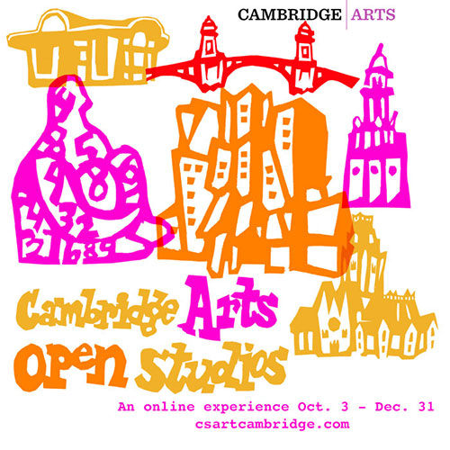 Poster for Cambridge Arts Open Studios, Oct. 3 - Dec. 31, 2020, illustrated with Cambridge landmarks like the Harvard Square Kiosk and Harvard's Memorial Chapel.