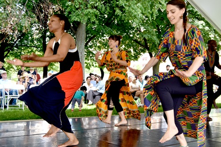 Audience members dance with Pasy Dance Company during the participatory part of their performance at the 2018 River Festival.