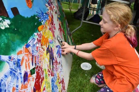 Making art at the 2018 River Festival's Cambridge Creativity Commons.