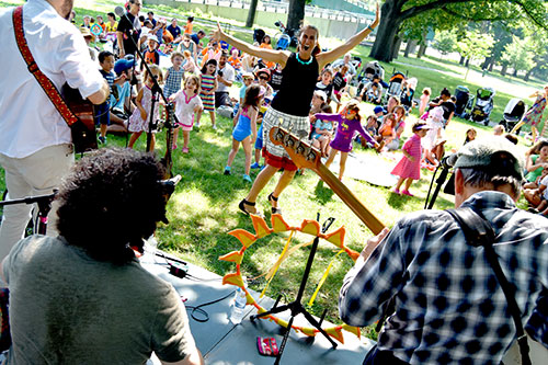Vanessa Trien & the Jumping Monkeys perform at Magazine Beach as part of Cambridge Arts' Summer In the City, July 3, 2018.