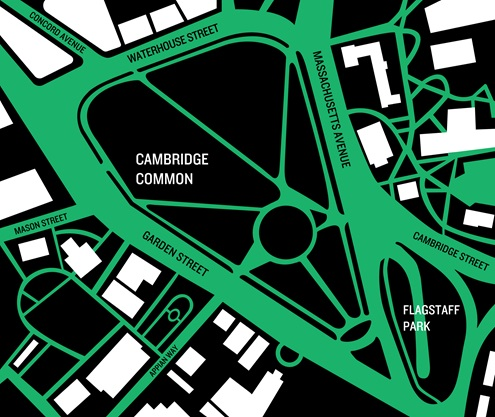 Stylized map of the Cambridge Common