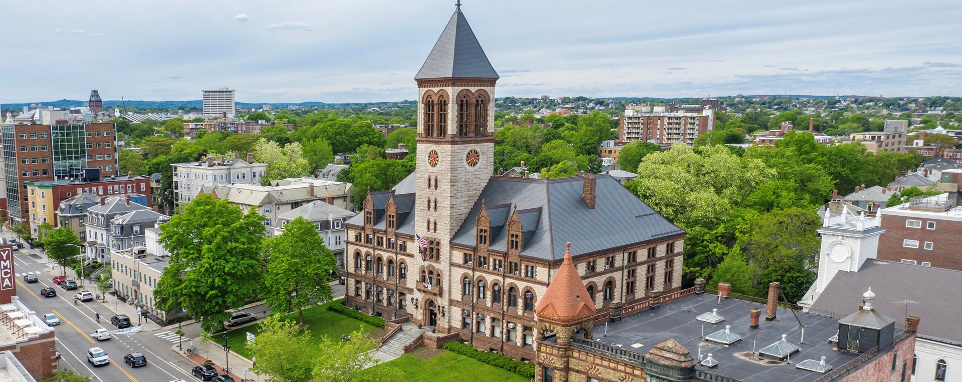 Aerial photo of City Hall by Kyle Klein