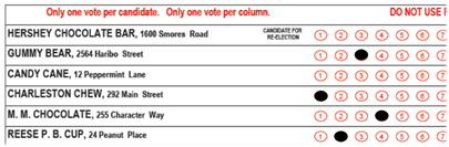 Ballot with Valid Markings