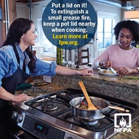 Fire Prevention Week Kitchen Cooking Safety Tip: Keep a Lid Handy to Smother Stovetop Fires