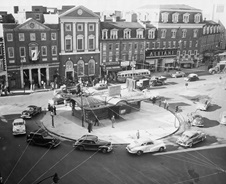 Harvard Square and subway head house 1949