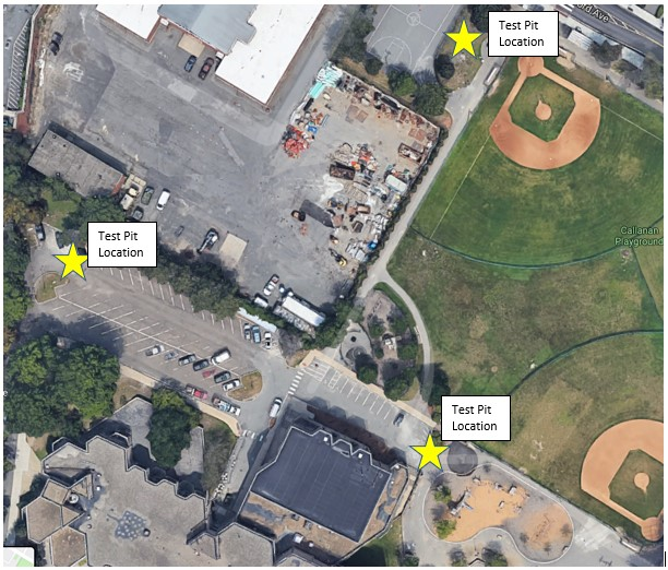 Aerial View of Test Pit Locations at Tobin School