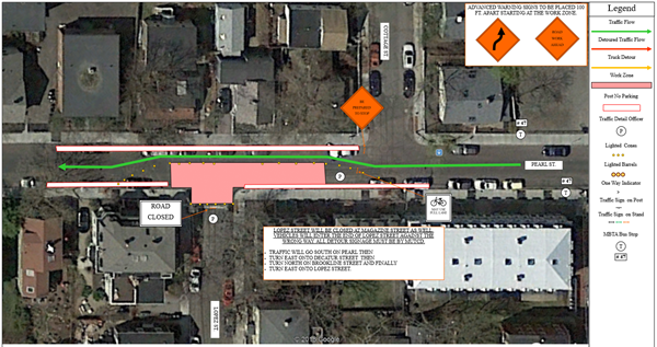 Map of traffic detour on Pearl Street