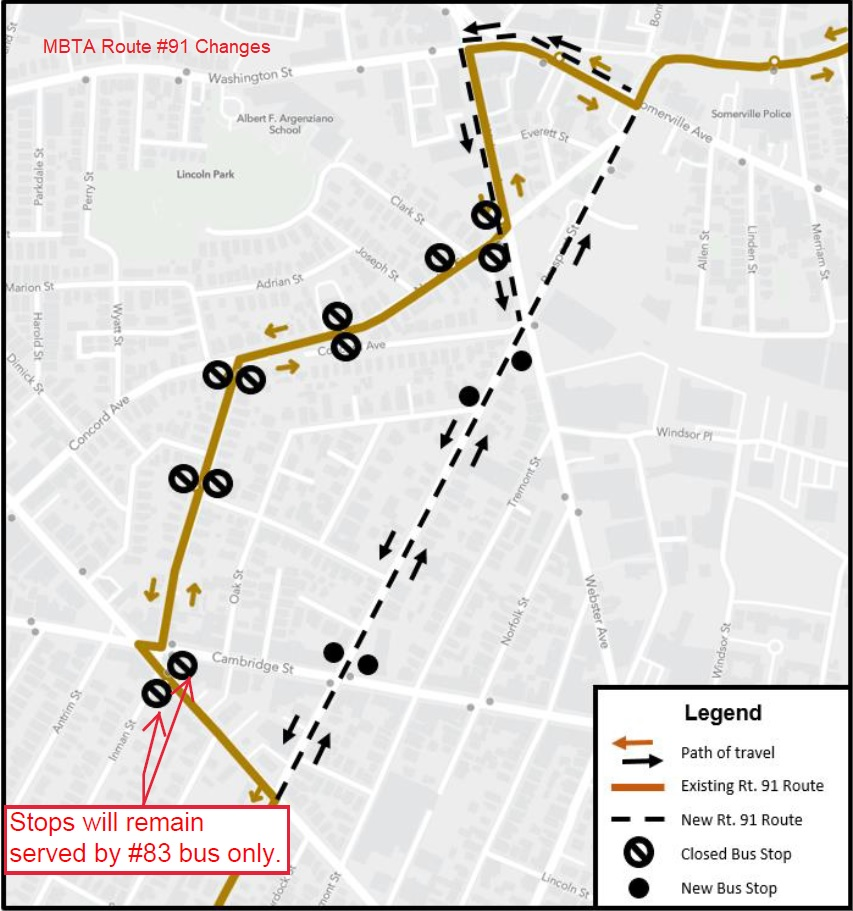 Map of 91 Bus Re-Route
