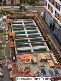 Overhead view of stormwater tank