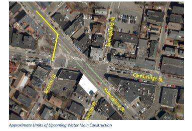 map of water main work on hampshire street