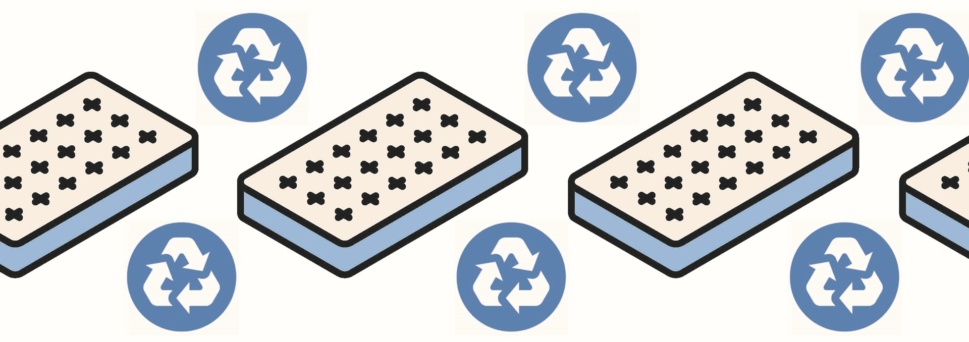 Cartoon images of mattresses and recycling symbols