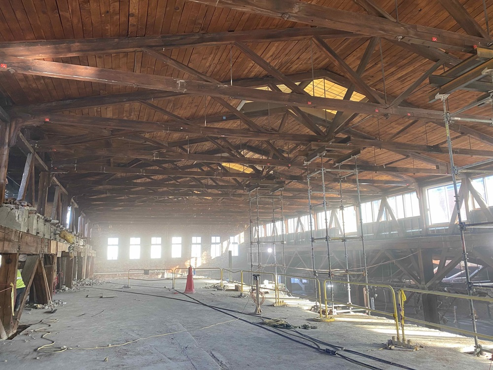Interior pic of the demolition of the building