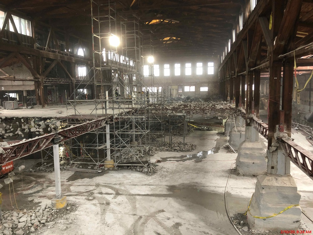 Interior pic of demolition of the building