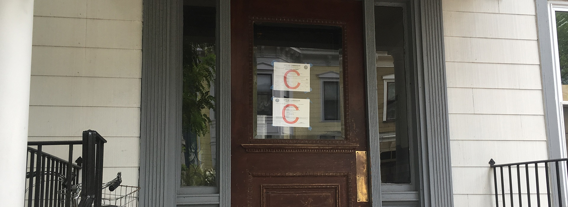 Building Permit on a door