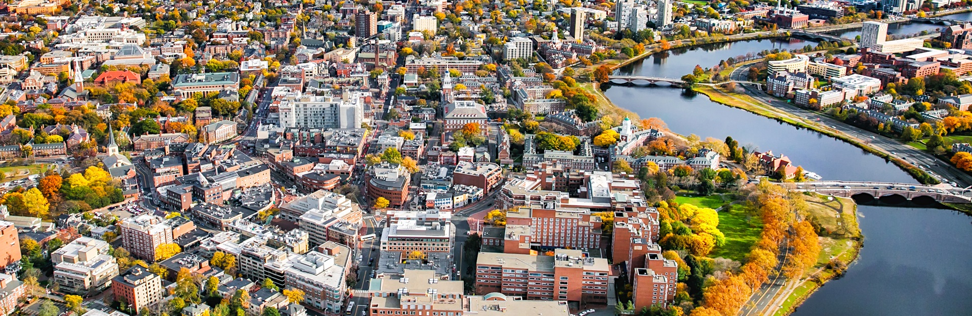 Aerial photo of the Harvard Square area