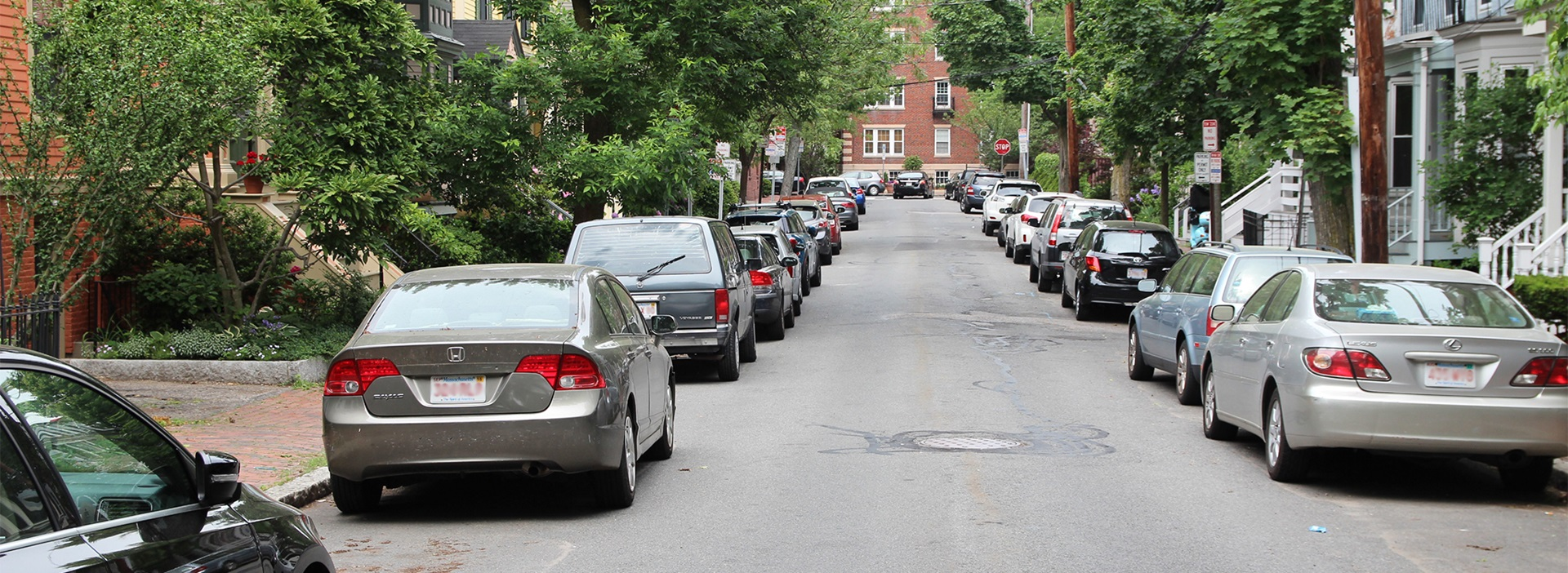 Cars parked on residential Street