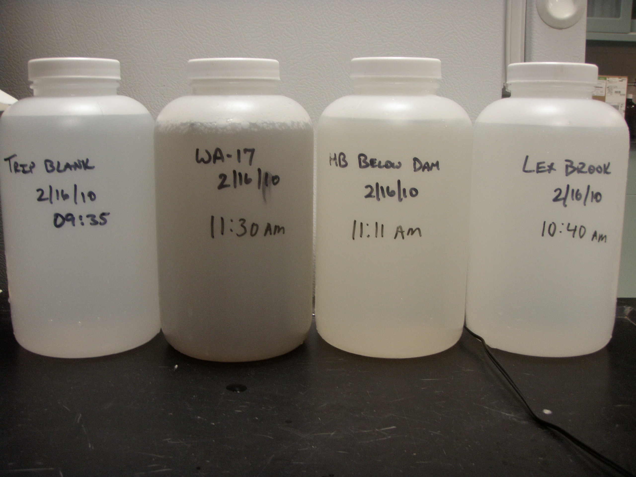 Several stormwater water quality samples compared from primary tribuaries.