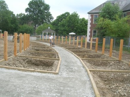 Path constructed throughout community gardens.