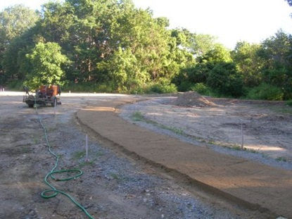 Stabilized aggregate placed on pathways.