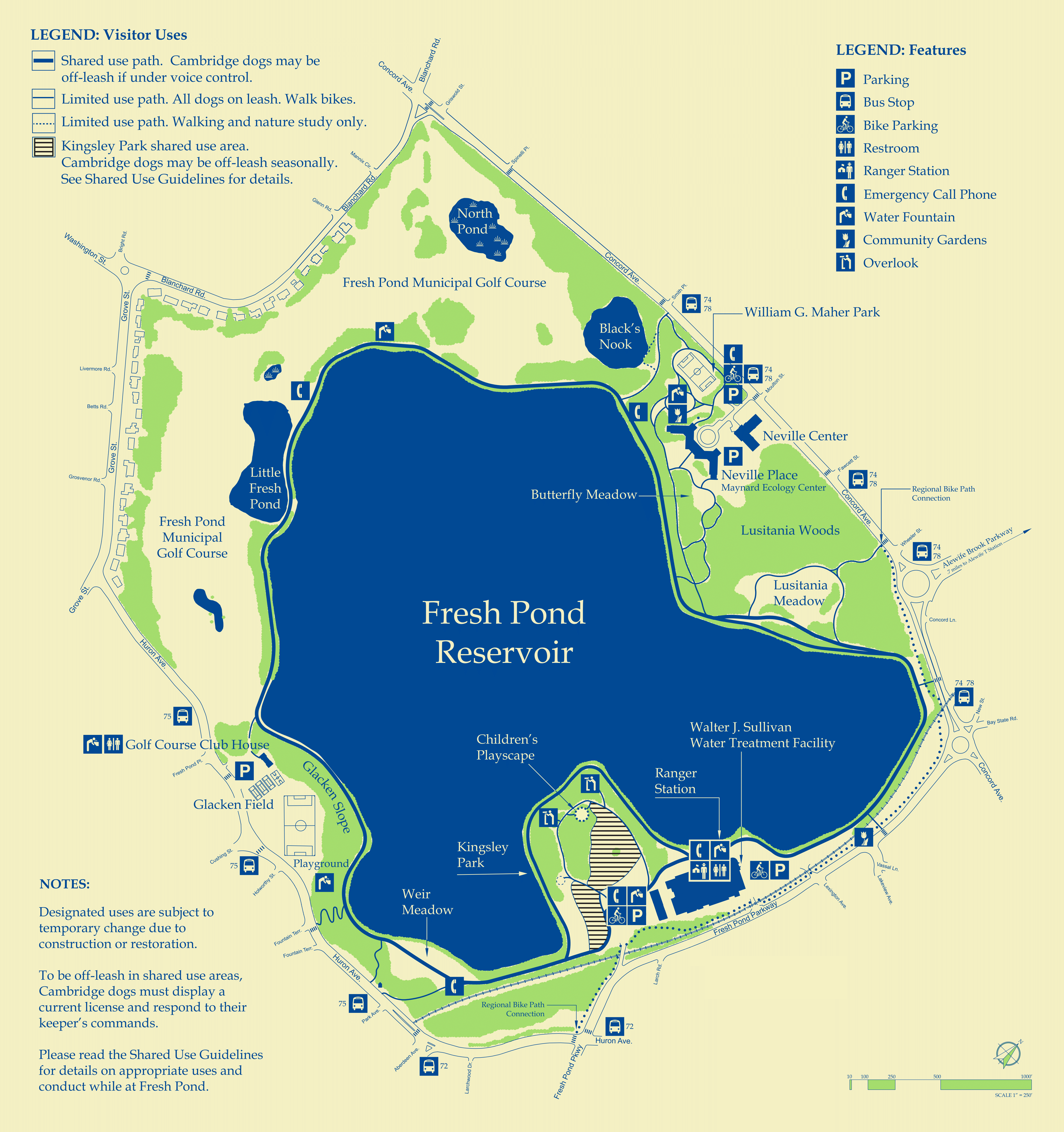 A map of Fresh Pond Reservation's trails