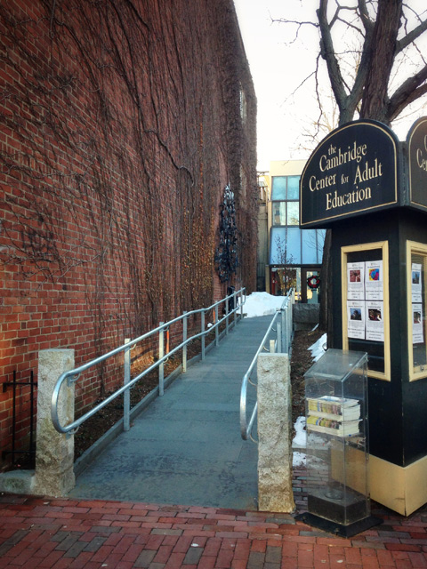 Access ramp at entrance to Cambridge Center for Adult Education