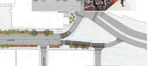 Image of the plans for the contra-flow bike lane on Main Street
