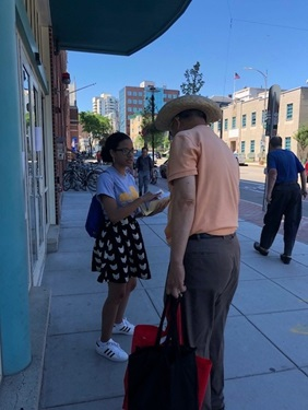 Live Bus canvassing outside of Citywide Senior Center