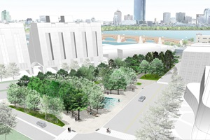 Rendering of proposed Triangle Park in East Cambridge