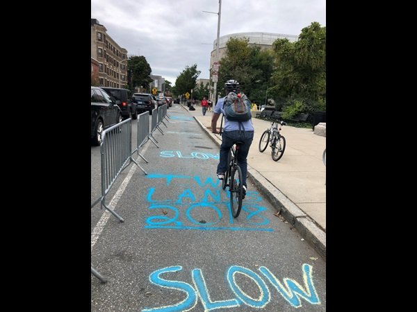 Glocal Challenge winning team,Two Lanes, implementing separated bike lane in Cambridge.