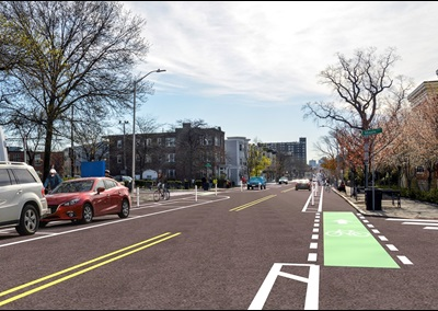 Cambridge street bicycle safety demonstration project rendering