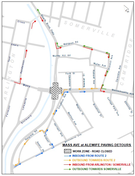 Alewife Brook Pkwy and Mass Ave Paving Detour